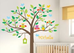 Nursery tree wall decal with name, owl decal - T40 via Etsy