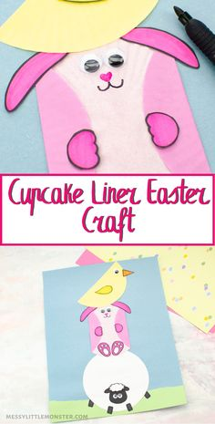 Easter craft for kids. Use cupcake liners to make an Easter bunny craft, Easter chick craft and lamb craft. Crafts For Kids To Make, Easter Crafts For Kids, Toddler Crafts, Cupcake Liner Crafts, Cupcake Liners, Cupcake Wrappers, Bunny Crafts, Cute Crafts, Easter Activities For Preschool