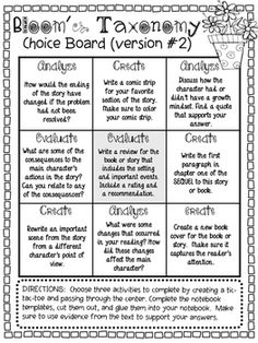 Bloom's Taxonomy Choice Boards by The Curious Apple Reading Strategies, Reading Activities, Teaching Reading, Reading Comprehension, Comprehension Strategies, Teaching Art, Middle School Reading, 4th Grade Reading, Gifted Education