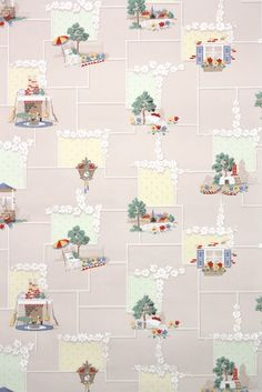 This roll of wallpaper is an authentic, old stock roll from the It is a european roll, which will cover approximately 35 sq. Vintage Wallpaper Patterns, Antique Wallpaper, Pattern Wallpaper, Vintage Patterns, 1930s Kitchen, Vintage Kitchen, Printed Curtains, Kitchen Prints, Dollhouses