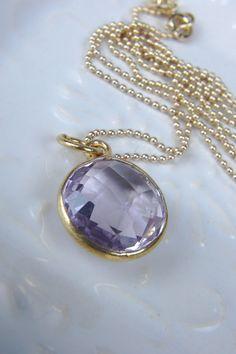 Gold bezel set Amethyst pendant Necklace / by AlisonStorryJewelry, $48.00 #amethyst #pendant #necklace #alisonstorryjewelry