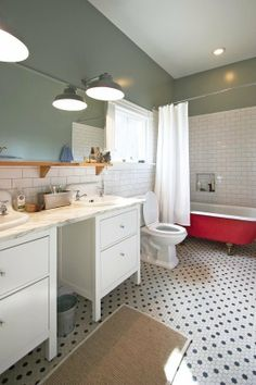 How to use white and grey tiles, white marble and red accents/// unexpected inspiration for the kitchen, found in the bathroom. on apartmenttherapy