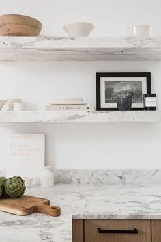 Marble shelves in th