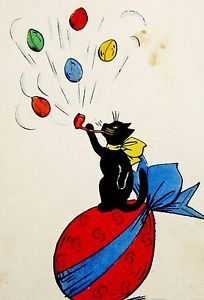 A/S Art Deco CAT Blows EASTER Egg Bubbles WWII Postcard