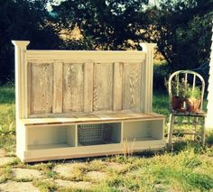 storage bench seating made from old headboard and more