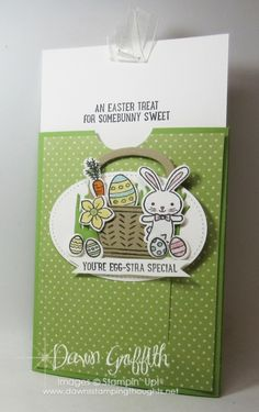 Basket Bunch Bundle Easter Slider card video posted on my blog today check out all the details www.DawnsStampingThoughts.net Dawn Griffith SU! demonstrator # Stampinup # Occasions 2017 Occasions #dawngriffith