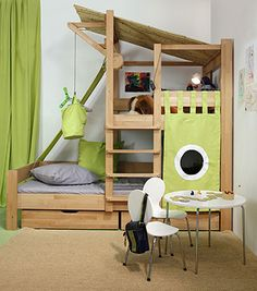 Such a fun bunk bed / indoor play structure. Playhouse Bed, Indoor Playhouse, Wooden Playhouse, Playhouse Plans, Play Beds, Kid Beds, Childrens Beds, House Beds, Kid Spaces