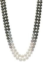 South Sea cultured pearl, diamond and 18k white gold double-strand