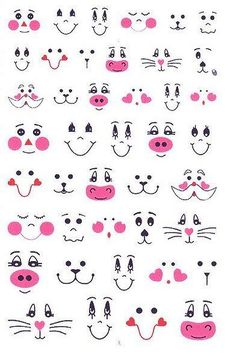 Patterns for cute animal faces. Patterns for cute animal faces. Sewing Crafts, Sewing Projects, Bunny Face, Clay Pot Crafts, Funny Drawings, Cartoon Faces, Mask Design, Doll Face, Doll Eyes