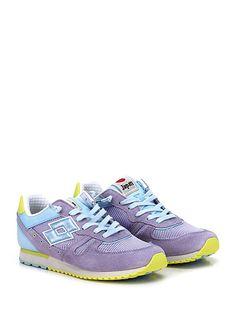 LOTTO LEGGENDA - Sneakers - Donna - Sneaker in pelle, camoscio e tessuto con suola in gomma. Tacco 20, platform 15 con battuta 5. - AZZURRO\LILLA - € 110.00