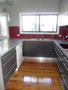 View inside kitchen - wide pot drawers
