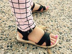 Little girls black criss-cross all leather sandals!