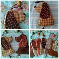 patchwork case for key Felt Crafts, Fabric Crafts, Sewing Crafts, Sewing Projects, Key Pouch, Key Covers, Creation Couture, Dog Pattern, Applique Quilts