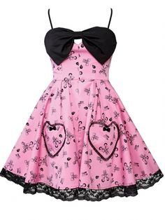 Scarlet Printed Dress with Ruffled Line Heart Pockets by Lucky 13