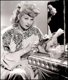 PERSONAL MANICURE - Lucille Ball in her dressing room.