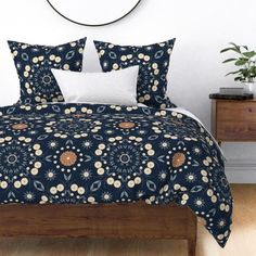 A gorgeous floral print in navy with cream and orange flowers to spruce up your bedroom in a pretty feminine vibe. #bedroom, #bedroomquilt #bedquilt #quilt #quiltcover #doonacover #doonercover #girlsbed #hamptonsbed #hamptonsvibe #homedecor #bedroomdecor #bedroomdreams Euro Shams, Pillow Shams, Pillows, Spoonflower, Quilt Bedding, Quilt Cover, Fabric Flowers, Custom Fabric, Comforters