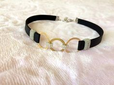 Black and Silver Choker Ring Necklace Black Leather Choker