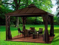 Gazebo outdoor space on pinterest gazebo pergolas and for Abri soleil mural toit rigide