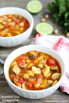 Vegetable Lime Chickpea Chili Recipe from twopeasandtheirpod.com Love this vegetable loaded chili! #recipe #glutenfree #vegan