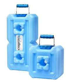 WaterBrick Water and Food Storage Containers. These are stackable, and have handles which makes it much easier to store and move. The big one is 3.5 gallons. So you need 4/person for the recommended 14 day supply.