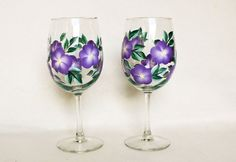 Lavender Hand Painted Wine Glasses by Allthatglass1 on Etsy, $22.00