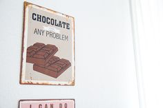 Chocolate fixes any problem Chocolate Waffles, Chocolate Funny, Food Puns, Funny Food, Rainbow Snake, Metal Signs, Cross Stitch Patterns, Cupcake Signs, Deko