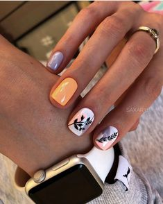 You see, the nails designed in this way are really fashionable - Page 92 of 143 - Inspiration Diary Shellac Nails Fall, Nail Manicure, Gel Nails, Manicure For Short Nails, Acrylic Nails, Nails Ideias, Pointy Nails, Rose Nails, Instagram Nails
