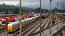 Canadian Pacific Rail locomotives and train cars sit idle at the company's Port Coquitlam yard east of Vancouver, B., Wednesday, May, (Darryl Dyck / THE CANADIAN PRESS) Canada Rail, Canadian Pacific Railway, Railroad History, Car Sit, Train Car, Locomotive, Railroad Tracks, Montreal, Vancouver