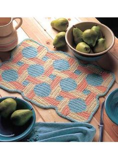 Patchwork Place Mats: For a bright, homey feeling, add these great place mats to your collection of kitchen accessories!Place mat size: 12 x 19 inches (appx) Crochet Decoration, Crochet Home Decor, Crochet Crafts, Crochet Ideas, Crochet Projects, Crochet Placemat Patterns, Crochet Doilies, Knitting Patterns, Crochet Round