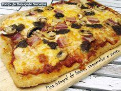 Ponto de Rebuçado Receitas: Piza integral de bacon, cogumelos e pesto