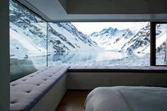 Bedroom in the mountains. Portillo, Chile... the most amazing bedroom view on the planet, I'd say!!!