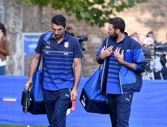 Gianluigi Buffon  Salvatore Sirigu / #Azzurri training session at Coverciano on October 5
