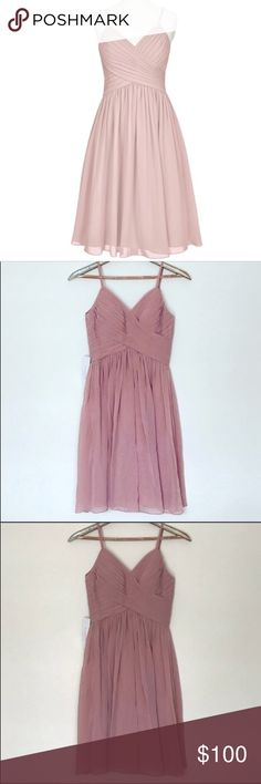 NWT Dusty Rose Bridesmaid/homecoming Dress Size 4 NWT Dusty Rose Dress Size 4. Brand new, never worn. Beautiful color. Spaghetti straps and zipper in back. 100% Polyester. Make me an offer :) azazie Dresses Midi