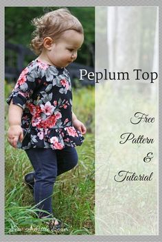 This week I made a little peplum top out of some floral ponte from Girl Charlee. This particular ponte was light and flowy, and it worked nicely for this project. A heavier ponte would also work though, or even a light weight French terry. Sewing Kids Clothes, Sewing For Kids, Baby Sewing, Sewing Pants, Children Clothes, Doll Clothes, Peplum Top Pattern, Bodice Pattern, Peplum Tops