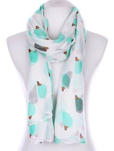 """Hedgehog Print Scarf Turquoise White Gray 72"""" x 36"""" Viscose New Adorable #Unbranded #Scarf #EveryOccasion"""