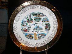 Vintage California Souvenir Plate Rythem by Homer Laughlin 22K Gold Warranted