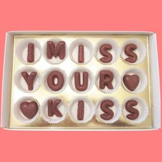 I Miss Your Kiss Large Milk Chocolate Letters by chocolatesays, $24.99