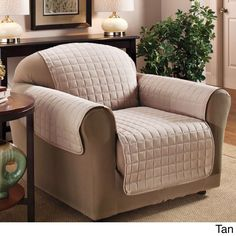 N Luxury Quilted Furniture Protector for Chair (Tan), Brown (Solid)