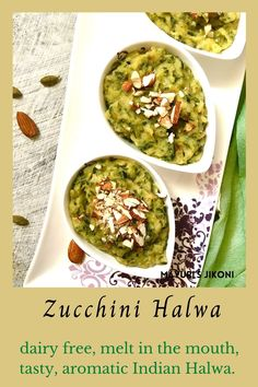 Zucchini Halwa is dairy free, melt in the mouth, flavorful, aromatic halwa cooked in the Indian style. With coconut milk, cardamom, and nutmeg this dessert can be served hot or cold. #dessert #zucchini #indiansweet #vegan #easyrecipe #coconutmilk