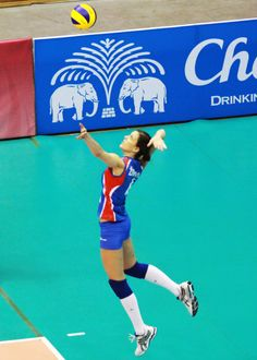 A powerful jump serve from Serbia.