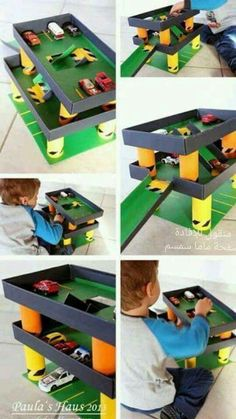Isnt that Just a fantastic DIY garage for your kids toy cars
