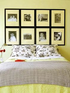 Photo frame headboard--Five DIY Headboard Ideas   Dormify--also-a way to use black accents in light celery green room--use charcoal grey as a softer contrast???
