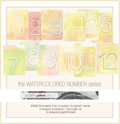 3 by 4 printables, watercolor numbers @Smitha Katti