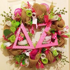 Deco mesh and burlap delta zeta wreath by KatyFayesdoordecor