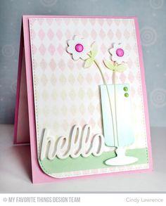 Happy Hellos Die-namics, Candy Jars Die-namics, Fresh Cut Flowers Die-namics, Harlequin Stencil - Cindy Lawrence #mftstamps