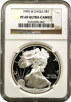Rare Silver Eagle Certified And Encapsulated By NGC. The Key To The Silver Eagle Series With Just Minted! A Beautiful Near Perfect Superb Cameo Example! The Proof Silver eagle was originally sold only as part of the Anniversary American Eagle Proof Set. Silver Eagles, Silver Dollar