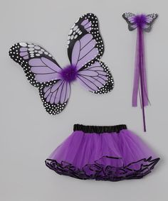 Girls transform into whimsical fairies when donning this richly hued trio. The butterfly wings have two elastic bands that wrap around a cutie's arms for flapping the day away with ease and elegance. A tutu and wand ensure the wearer will look the part while soaring into a magical, make-believe world. Includes tutu, wand and wingsWings: 17'' W x 10'' H