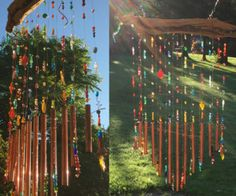 Fairy Light Wind Chime Pipes En Verre, Carillons Diy, Diy Wind Chimes, Porch Roof, Porche, Old Watches, Summer Nights, Fairy Lights, String Lights