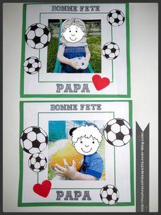 - dernière création pour la fête des pères 2015 , collage des ballons de football et à l'intérieur coloriage et collage de petits coeur et collage de la fiche petit mot doux, la carte du même principe que pour le cadre sport mais en carte , vous pouvez...