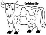 Print a page for each child.  Have the children roll a die and identify the  number on the die.  Have the child find the corresponding number on  the cow and color it.  The first one with all the cow colored is the winner.